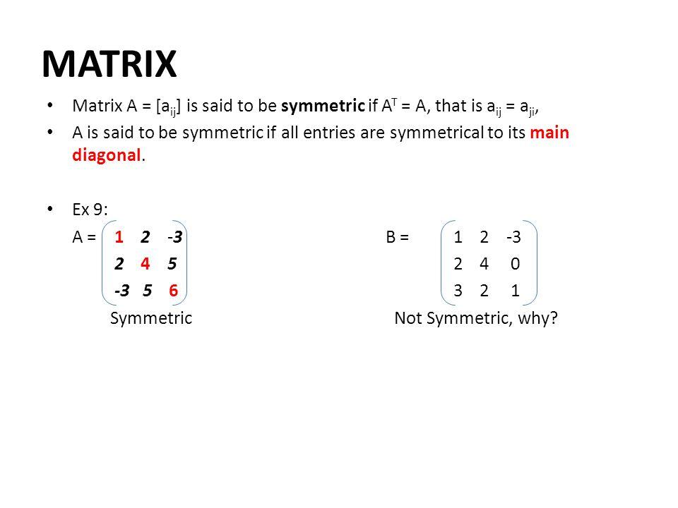 MATRIX Matrix A = [aij] is said to be symmetric if AT = A, that is aij = aji,